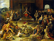 painting by Frans Francken II (1581-1642) is an imagined scene in Brussels of the abdication of the Holy Roman Emperor, King Charles V. In 1555 and 1556 Charles V divided the empire between his son Philip II and his brother Ferdinand. The Spanish and Netherlandish possessions went to Philip, while Germany passed to Ferdinand.