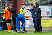 Referee Steven McLean warns John Robertson, manager of Inverness Caledonian Thistle FC during the William Hill Scottish Cup quarter final match between Dundee United and Inverness CT at Tannadice Park, Dundee, Scotland on 3 March 2019.