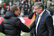 Handshake for Brendan Rodgers and Craig Levein at the Ladbrokes Scottish Premiership match between Heart of Midlothian and Celtic at Tynecastle Stadium, Gorgie, Scotland on 17 December 2017. Photo by Kevin Murray.