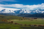 Ranch Life and environment of Upper Green River Basin; RANCHLANDS, UPPER HOBACK VALLEY; GROS VENTRE RANGE IN BACKGROUND.