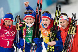 February 17, 2018 - Pyeongchang, SOUTH KOREA - 180217  Ingvild Flugstad Østberg of Norway , Astrid Uhrenholdt Jacobsen of Norway , Ragnhild Haga of Norway and Marit Bjørgen of Norway, gold, celebrates after the competes in Women's Cross Country Skiing 4x5 km Relay during day eight of the 2018 Winter Olympics on February 17, 2018 in Pyeongchang..Photo: Petter Arvidson / BILDBYRÃ…N / kod PA / 87632 (Credit Image: © Petter Arvidson/Bildbyran via ZUMA Press)