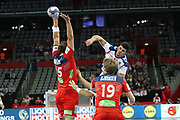 Kristian Bjornsen, Kent Robin Tonnesen (Norway) and Nemanja Zelenovic (Serbia) during the EHF 2018 Men's European Championship, 2nd Round, Handball match between Serbia and Norway on January 18, 2018 at the Arena in Zagreb, Croatia - Photo Laurent Lairys / ProSportsImages / DPPI
