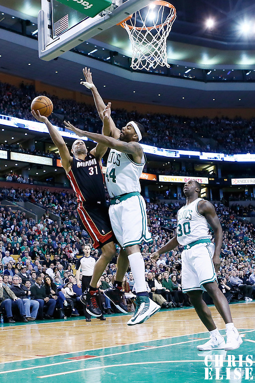 27 January 2013: Miami Heat small forward Shane Battier (31) goes for the layup against Boston Celtics power forward Chris Wilcox (44) during the Boston Celtics 100-98  2OT victory over the Miami Heat at the TD Garden, Boston, Massachusetts, USA.
