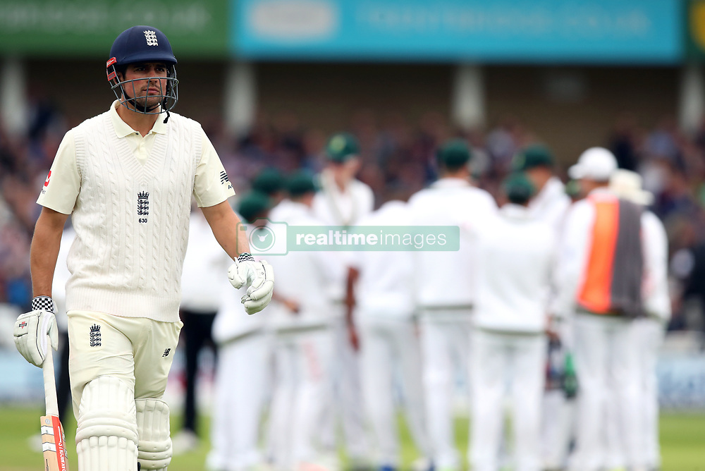 England's Alastair Cook after losing his wicket during day two of the Second Investec Test match at Trent Bridge, Nottingham.