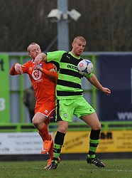 Braintree Town's Kenny Davis loses possession to Forest Green Rovers's Charlie Clough - Photo mandatory by-line: Nizaam Jones - Mobile: 07966 386802 - 14/03/2015 - SPORT - Football - Nailsworth - The New Lawn - Forest Green Rovers v Braintree  - Vanarama Football Conference.