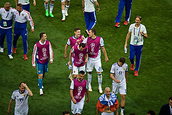 MOSCOW, RUSSIA - Sunday, July 1, 2018: Russia's Artem Dzyuba celebrates after beating Spain 4-3 on penalties during the FIFA World Cup Russia 2018 Round of 16 match between Spain and Russia at the Luzhniki Stadium. (Pic by David Rawcliffe/Propaganda)