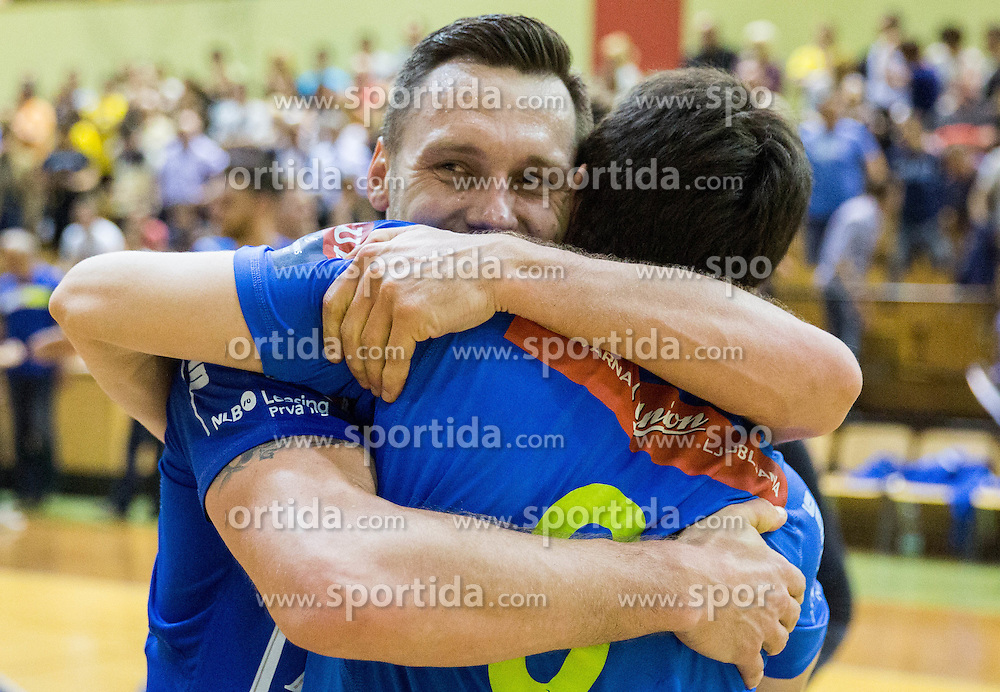Luka Zvizej of Celje PL and David Razgor of Celje PL celebrate after winning during handball match between RK Gorenje Velenje and RK Celje Pivovarna Lasko in Final match of 1st NLB League - Slovenian Championship 2013/14 on May 23, 2014 in Rdeca dvorana, Velenje, Slovenia. RK Celje Pivovarna Lasko became 18-times Slovenian National Champion. Photo by Vid Ponikvar / Sportida