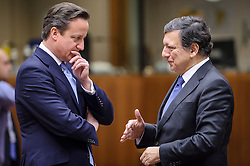 David Cameron, the U.K.'s prime minister, left, speaks with Jose Manuel, Barroso, president of the European Commission, on the first day of the EU Summit, at the European Council headquarters in Brussels, Belgium on Thursday, Dec. 13, 2012. (Photo © Jock Fistick)