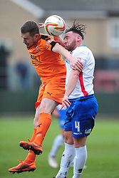 RUSHDENS JOE CURTIS HOLDS OF HARTLEY WINTNEY ROWAN VINE, AFC Rushden & Diamonds v Hartley Wintney FC Hayden Road, Evo Stik League South East Saturday 2nd December 2017 Score 2-0, Rushden go top of League, Photo:Mike Capps
