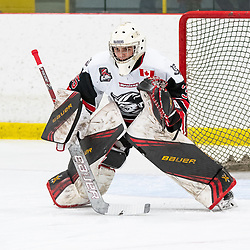 GEORGETOWN, ON - MARCH 2: Nathan Torchia #35 of the Georgetown Raiders follows the play March 2, 2019 at Gordon Alcott Memorial Arena in Georgetown, Ontario, Canada.<br /> (Photo by Dave Fryer / OJHL Images)