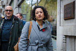 © Licensed to London News Pictures. 05/11/2019. London, UK. Television presenter and journalist, Samira Ahmed (C) arrives at the Central London Employment Tribunal to attend an equal pay case hearing against the BBC. Samira Ahmed, who presents Newswatch on BBC One and Radio 4's Front Row claims she was paid less than male colleagues for doing equivalent work under the Equal Pay Act. Photo credit: Vickie Flores/LNP