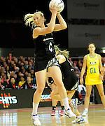 Laura Langman in control for the ferns. Constellation cup netball. Silver Ferns v Australian Diamonds at ILT Velodrome, Invercargill, New Zealand. Sunday 15th september 2013. New Zealand. Photo: Richard Hood/photosport.co.nz