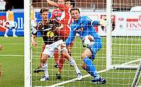 Fotball , 26. juni 2016 , OBOSLIGAEN , 1. divisjon , Mjøndalen - Kongsvinger<br /> <br /> <br /> her scorer Mathias Fredriksen , MIF på Otto Fredrikson , Kongsvinger