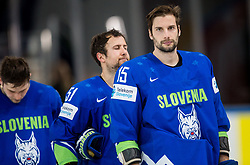 Anze Kuralt of Slovenia, Mitja Robar of Slovenia and Blaz Gregorc of Slovenia look dejected after the 2017 IIHF Men's World Championship group B Ice hockey match between National Teams of Slovenia and Belarus, on May 13, 2017 in AccorHotels Arena in Paris, France. Photo by Vid Ponikvar / Sportida