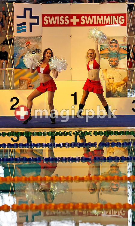 Dancers of EURODANCERS perform prior to the evening session at the Swiss Swimming Championships in Zurich (Zuerich) Oerlikon, Switzerland, Friday, March 20, 2009. (Photo by Patrick B. Kraemer / MAGICPBK)