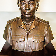 A bust of General Vo Nguyen Giap. Giap was an important commander in both the First Indochina War and the Vietnam War and later became a politician and key political figure in Vietnam. The museum was opened on July 17, 1956, two years after the victory over the French at Dien Bien Phu. It is also known as the Army Museum (the Vietnamese had little in the way of naval or air forces at the time) and is located in central Hanoi in the Ba Dinh District near the Lenin Monument in Lenin Park and not far from the Ho Chi Minh Mausoleum.