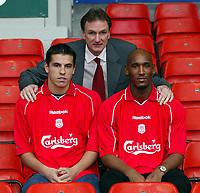 Fotball: An early Christmas present for Reds fans as Liverpool unveil Czech international striker Milan Baros (left) and French striker Nicolas Anelka (right) with assistant manager Phil Thompson (centre) at Anfield. Monday 24th December 2001.<br />