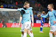 Manchester City midfielder Kevin de Bruyne (17) celebrates his goal 1-0 City during the quarter final of the EFL Cup match between Leicester City and Manchester City at the King Power Stadium, Leicester, England on 18 December 2018.
