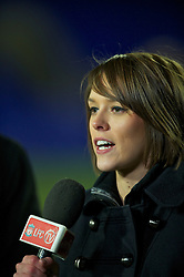 BIRKHENHEAD, ENGLAND - Monday, February 28, 2011: Liverpool FC television reporter Claire Rourke during the FA Premiership Reserves League (Northern Division) match between Liverpool and Blackburn Rovers at Prenton Park. (Photo by David Rawcliffe/Propaganda)