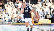 A held back celebration by Steve Morrison during the Sky Bet League 1 match between Millwall and Rochdale at The Den, London, England on 26 September 2015. Photo by Michael Hulf.
