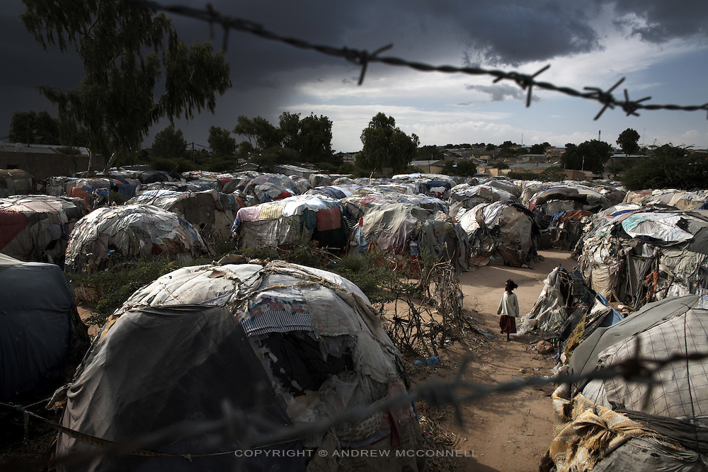 The Xabaalaha Shanad camp for displaced persons in the center of Hargeisa, Somaliland.
