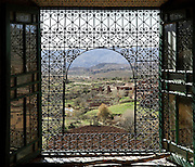 View of Telouet seen from a window of the Kasbah of the Glaoua family, Telouet, High Atlas, Morocco. The fortress was begun in the 19th century as the residence Thami el Glaoui, 1879-1956, who was Pasha of Marrakech 1912-56. It sits at 1800m in the Atlas mountains on an ancient caravan route from the Sahara to Marrakech. Picture by Manuel Cohen