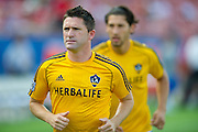 FRISCO, TX - AUGUST 11:  Robbie Keane #7 of the Los Angeles Galaxy warms up before kickoff against FC Dallas on August 11, 2013 at FC Dallas Stadium in Frisco, Texas.  (Photo by Cooper Neill/Getty Images) *** Local Caption *** Robbie Keane