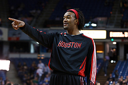 March 7, 2011; Sacramento, CA, USA;  Houston Rockets forward Jordan Hill (27) jokes with teammates during warm ups before the game against the Sacramento Kings at the Power Balance Pavilion. Houston defeated Sacramento 123-101.