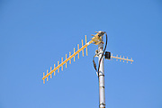 RF Antenna on blue sky background