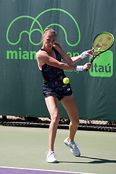 March 22, 2018 - Key Biscayne, FL, U.S. - KEY BISCAYNE, FL - MARCH 22: Magdalena Rybarikova (SVK) in action on Day 4 of the Miami Open on March 22, 2018, at Crandon Park Tennis Center in Key Biscayne, FL. (Photo by Aaron Gilbert/Icon Sportswire) (Credit Image: © Aaron Gilbert/Icon SMI via ZUMA Press)