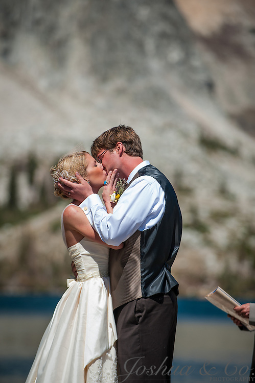 Tieg Weathers and Marie Engdahl's wedding ceremony next to Lake Marie in the Medicine Bow Mountains along Snowy Range Road and reception at the Alice Hardie Stevens Center in Laramie, Wyoming, on August 25, 2012...Joshua Lawton // Joshua & Co. Photography ..www.joshuacophotography.com