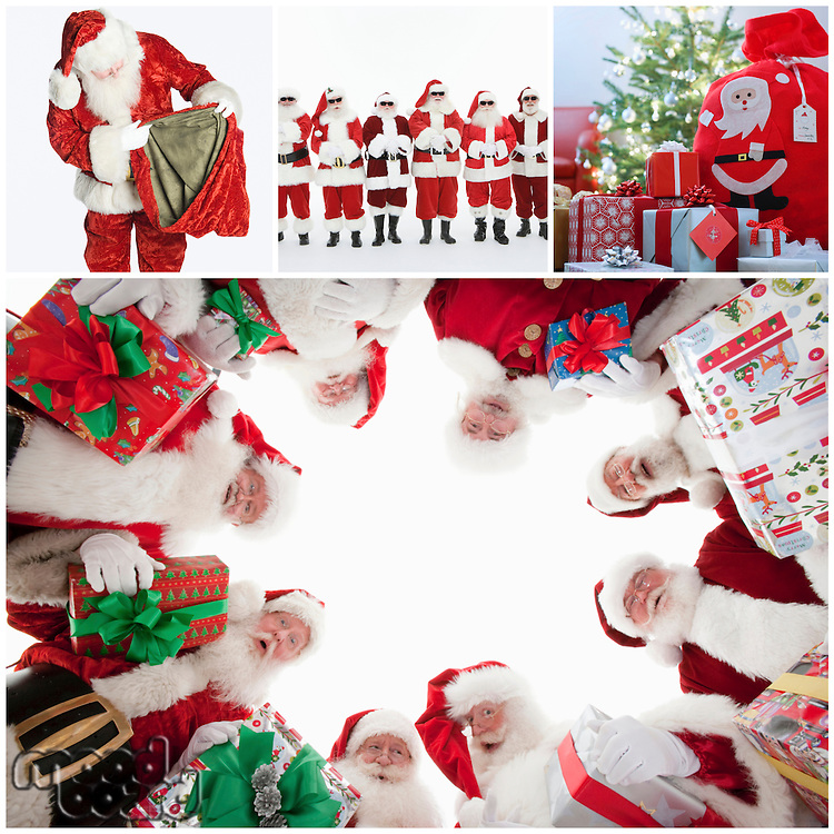 Collage of Santa Clauses