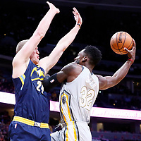 07 March 2018: Cleveland Cavaliers forward Jeff Green (32) goes for the layup against Denver Nuggets center Mason Plumlee (24) during the Cleveland Cavaliers 113-108 victory over the Denver Nuggets, at the Pepsi Center, Denver, Colorado, USA.