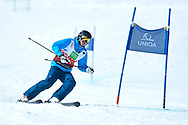 """Schladming, Austria - 2017 March 21: Hanul Jeon from South Korea (202) competes in Alpine Skiing Competition while Special Olympics World Winter Games Austria 2017 on the """"Sepp-Walcher-Downhill"""" (Slope 32) near the """"Tauernalm"""" in Rohrmoos on March 21, 2017 in Schladming, Austria.<br /> <br /> Mandatory credit:<br /> Photo by © Adam Nurkiewicz / Mediasport<br /> <br /> Adam Nurkiewicz declares that he has no rights to the image of people at the photographs of his authorship.<br /> <br /> Picture also available in RAW (NEF) or TIFF format on special request.<br /> <br /> Any editorial, commercial or promotional use requires written permission from the author of image.<br /> <br /> Image can be used in the press when the method of use and the signature does not hurt people on the picture."""
