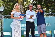 Francesca Rossi, Mino Taveri, Luigi Peruzzu<br /> Presentazione Banco di Sardegna Dinamo Sassari alle Autorità e Sponsor<br /> Alghero, Tenute Sella e Mosca, 05/09/2018<br /> Foto L.Canu / Ciamillo-Castoria