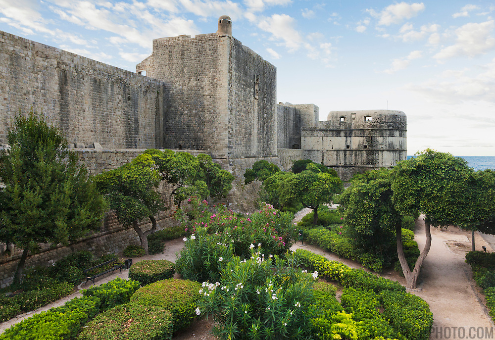 A manicured garden outside of the old city walls in Dubrovnik, Croatia. <br />