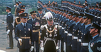 State Opening of the N Ireland Parliament, Stormont, Belfast, 22nd June 1971.  The Governor of N Ireland, Lord Grey of Naunton, reprenting the Queen at the ceremony inspects a Royal Airforce Regiment guard of honour. This was the last State Opening of the N Ireland Parliament as it was later suspended with the introduction of Direct Rule. It was subsequently abolished under the Northern Ireland Constitution Act 1973. 197106220270d<br /> <br /> Copyright Image from Victor Patterson, 54 Dorchester Park, Belfast, UK, BT9 6RJ<br /> <br /> Tel: +44 28 9066 1296<br /> Mob: +44 7802 353836<br /> Voicemail +44 20 8816 7153<br /> Skype: victorpattersonbelfast<br /> Email: victor@victorpatterson.com<br /> Email: victorpatterson@me.com (back-up)<br /> <br /> IMPORTANT: If you wish to use this image or any other of my images please go to www.victorpatterson.com and click on the Terms & Conditions. Then contact me by email or phone with the reference number(s) of the image(s) concerned.