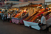 Dried fruit stands in Djemaa el Fna Square, Marrakech