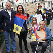 London,England, UK 13th May 2017. Venezuelan community's protest against Dictator Nicolas Maduro against human right, free speak and in five weeks over 40 protesters killed at Simon Bolivar statue, Belgrave square, Hype Park   By See Li