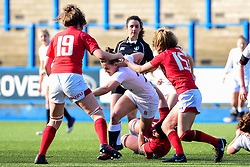 Sarah Hunter of England Women is marked by Natalia John of Wales Women and Elinor Snowsill of Wales Women - Mandatory by-line: Ryan Hiscott/JMP - 24/02/2019 - RUGBY - Cardiff Arms Park - Cardiff, Wales - Wales Women v England Women - Women's Six Nations