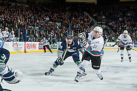 KELOWNA, CANADA - FEBRUARY 8: Rourke Chartier #14 of Kelowna Rockets shoots on net and scores against the Seattle Thunderbirds on February 8, 2016 at Prospera Place in Kelowna, British Columbia, Canada.  (Photo by Marissa Baecker/Shoot the Breeze)  *** Local Caption *** Rourke Chartier;