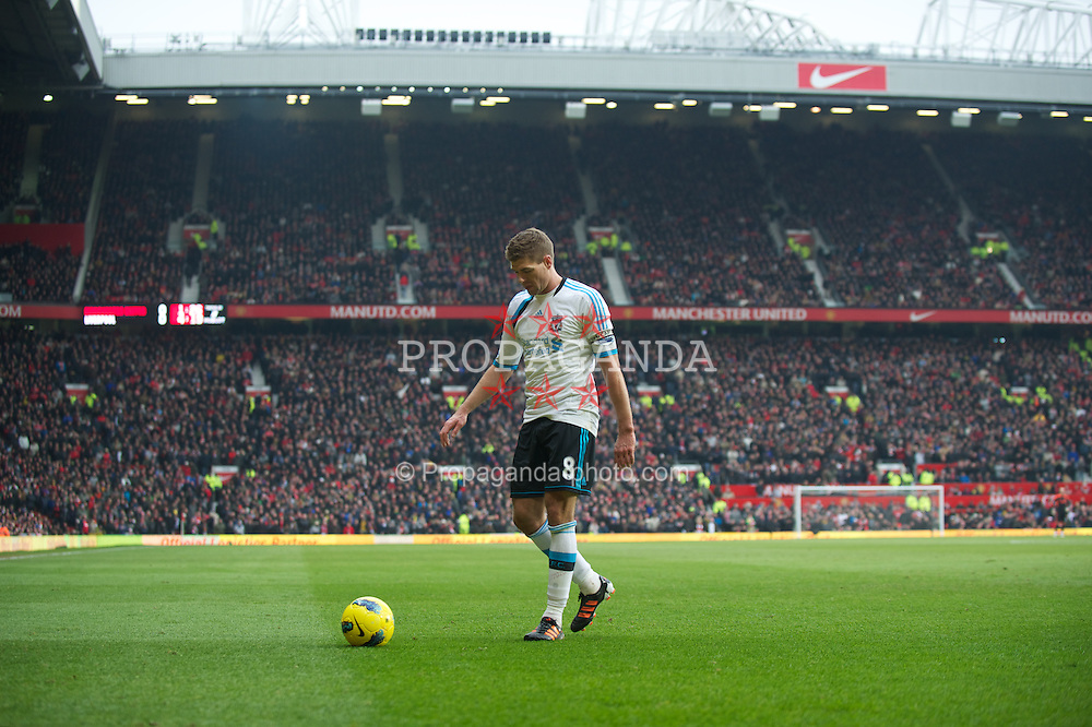 MANCHESTER, ENGLAND - Saturday, February 11, 2012: Liverpool's captain Steven Gerrard in action against Manchester United during the Premiership match at Old Trafford. (Pic by David Rawcliffe/Propaganda)