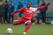 Sahr Kabba (Welling United) takes a shot during the Vanarama National League match between FC Halifax Town and Welling United at the Shay, Halifax, United Kingdom on 30 January 2016. Photo by Mark P Doherty.
