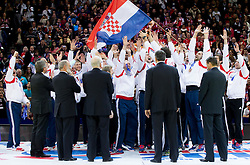 Third placed team of Croatia celebrate at final ceremony after the final handball match between Serbia and Denmark at 10th EHF European Handball Championship Serbia 2012, on January 29, 2012 in Beogradska Arena, Belgrade, Serbia. Denmark defeated Serbia 21-19 and became European Champion 2012. (Photo By Vid Ponikvar / Sportida.com)
