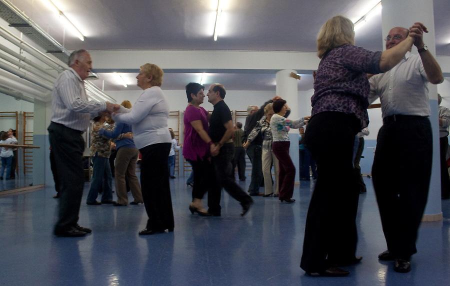 Ballroom dancing class.