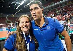 Ana Oblak and Andrea Giani, head coach of Slovenia celebrate after winning during volleyball match between National teams of Slovenia and Italy in 1st Semifinal of 2015 CEV Volleyball European Championship - Men, on October 17, 2015 in Arena Armeec, Sofia, Bulgaria. Photo by Vid Ponikvar / Sportida