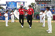 Umpires Kumar Dharmasena and Billy Bowden shake hands as they walk out during match 19 of the Karbonn Smart Champions League T20 between the Perth Scorchers and the Mumbai Indians held at the Feroz Shah Kotla Stadium, Delhi on the 2nd October 2013<br /> <br /> <br /> Photo by Shaun Roy-CLT20-SPORTZPICS <br /> <br /> Use of this image is subject to the terms and conditions as outlined by the CLT20. These terms can be found by following this link:<br /> <br /> http://sportzpics.photoshelter.com/image/I0000NmDchxxGVv4