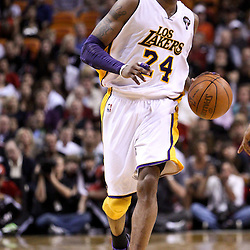 March 10, 2011; Miami, FL, USA; Los Angeles Lakers shooting guard Kobe Bryant (24) during the second quarter against the Miami Heat at the American Airlines Arena.  Mandatory Credit: Derick E. Hingle