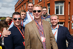 League 1 Groundsaman of the year Craig Richardson and his team pose during the Bristol City open top bus parade to celebrate winning both the League 1 and Johnstone's Paint Trophy titles this season and promotion to the Championship - Photo mandatory by-line: Rogan Thomson/JMP - 07966 386802 - 04/05/2015 - SPORT - FOOTBALL - Bristol, England - Bristol City Bus Parade.