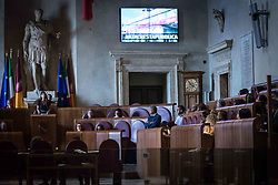 September 7, 2017 - Rome, Italy, Italy - Mayor of Rome Virginia Raggi speacks during a City Council on the Atac crisis in Rome, Italy on 07 September 2017. (Credit Image: © Andrea Ronchini/NurPhoto via ZUMA Press)